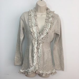 NWT Anthropologie Guinevere ruffle front cardigan